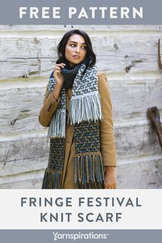 Free Knit Fringe FEstival Scarf pattern in Patons Norse yarn. This scarf truly is a Fringe Festival! Abundant fringe is offset by panels worked in garter and mosaic stitch. Knitting Patterns Free, Knit Patterns, Free Knitting, Crochet Poncho, Hand Crochet, Free Crochet, Fringe Scarf, Plaid Scarf, Patons Classic Wool