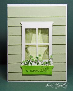 """The siding is just strips of green card stock that I inked the edges and then overlapped the edges like siding on a house. The curtains were made by gathering a piece of ribbon for the top and then making some of the ribbon swag down the sides of the window.  Window box is pop dotted as is the window (Apr 07, 2012)"
