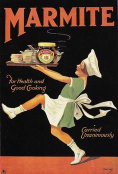 Vintage Marmite Classic Advertisment Advertising Poster Re-print Vintage Food Posters, Vintage Advertising Posters, Old Advertisements, Vintage Italian Posters, Print Advertising, Pub Vintage, Vintage Labels, Vintage Signs, Etiquette Vintage