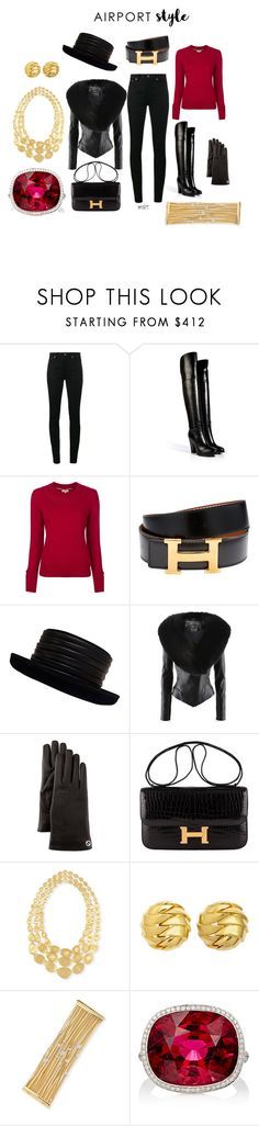 """Airport Style III"" by meesh57 on Polyvore featuring Yves Saint Laurent, Ralph Lauren Collection, Burberry, Hermès, Kokin, Jitrois, Gucci, Marco Bicego, Tiffany & Co. and MUNNU The Gem Palace"
