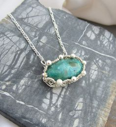Sterling Silver Wire Wrapped Necklace with Malachite and Chrysocolla Stone via Etsy