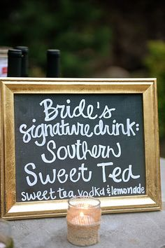 Oh this could be cute with two signature drink options one from the groom and one from the bride!