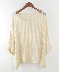 Beige Batwing Knitted Jumpers with Laddered Detail