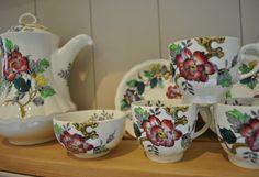 Vintage Wood and Sons Ashbourne china tea set for 6