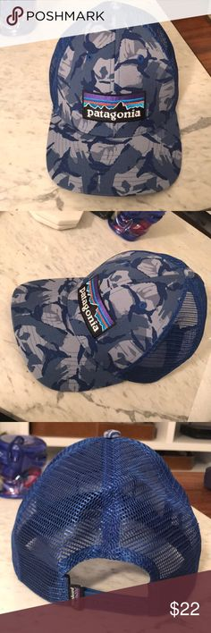 Patagonia Trucker Hat Authentic Patagonia trucker style hat in blue camouflage. Worn once with no signs of wear! Patagonia Accessories Hats