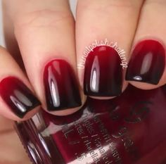 Red and black ombre nails