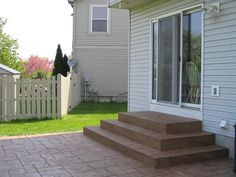 30 Best Patio Steps Images In 2020 Patio Steps Patio Backyard | Patio With Stairs From House | Residential | Curved Paver | Main Entrance Stamped Concrete Front | Walkout Basement | Decorative