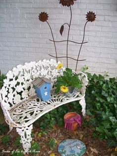 Trellis, bench and birdhouse to hang this morning. (May 20, 2012)