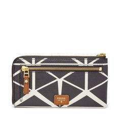 NWT NEW FOSSIL AVA L ZIP CLUTCH WRISTLET  WALLET BLACK / WHITE $70.00 #Fossil