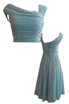 50s inspired BLUE bridesmaid dresses   50's style chiffon dress