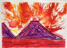 IMG_4436 - Andy Warhol - erupting volcanoes - Andy Warhol's painting, Mount Vesuvius inspired our erupting volcanoes. The students used bright colo…