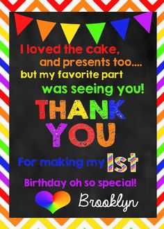 Rainbow First Birthday Thank You Note by huxleyphotodesigns