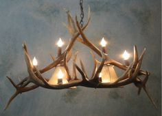 Handcrafted In Wyoming Rustic Authentic Antler Pool TableBar - Antler pool table light