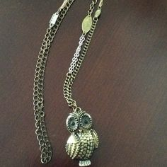 """Owl necklace Chain is gold, silver , rose gold and measures 32"""".  Owl pendant opens.  See all pics for intricate detail. Jewelry Necklaces"""