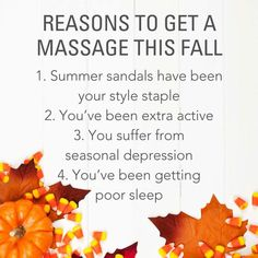 Reasons to get a Massage this fall!🍁🍁🍁 It feels 👍 great. Quality onsitemassage ALaura Massage will take great care of your body, mind and Soul. #relaxation #deeptissue #massagetherapy sportsmassageinpensacolafl.com