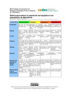 Rúbrica de una exposición oral con apoyo de una presentación de diapositivas