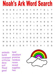 Printable Bible Word Searches from Genesis - Noah's Ark Word Search
