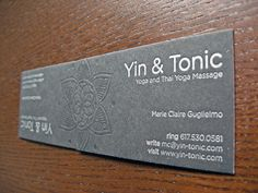 Excellent letterpress massage business cards samples, created for Yin & Tonic - Yoga and Thai Yoga Massage.