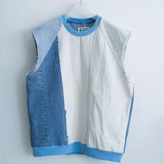 cotonblanc: Artisanal patchwork denim jumper,...