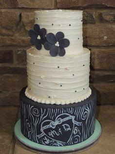 Rustic chalkboard themed wedding cake