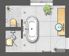 Belle disposition de salle de bain..