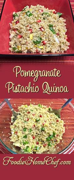 Pomegranate Pistachio Quinoa - A kick of spice, a burst of tang, a hint of sweetness & a nice bit of crunch makes this dish simply awesome & one you'll want to make over & over again. It even makes a fantastic, healthy, anytime snack! Side Dishes Easy, Side Dish Recipes, Dinner Recipes, Vegetarian Recipes, Healthy Recipes, Cooking Recipes, Budget Recipes, Delicious Recipes, Buffalo Cauliflower