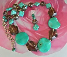 Chunky  turquoise    and  faceted  smoky  quartz  necklace  earrings