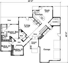 Ranch Style House Plan - 3 Beds 2 Baths 1775 Sq/Ft Plan #78-213 Floor Plan - Main Floor Plan - Houseplans.com
