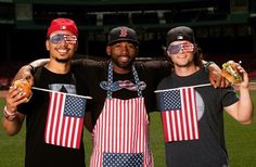 Mookie Betts, Jackie Bradley Jr. and Andrew Benintendi -- the Boston Red Sox All-American Outfield BBQ Crew. Kicking all asses, taking no prisoners, and dancing to their own music in 2017.