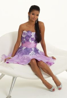 Short Dresses - Strapless Organza 3-D Flower Prom Dress from Camille La Vie and Group USA