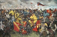 Battle of Créçy - 26 Aug 1346 - King Edward III's crushing English victory over the French King Philip VI, was one of the most important battles in the Hundred Years' War, where the Black Prince won his spurs and acquired the emblem of the Three White Feathers. Due to their organization, their cannons, and their longbowmen, the English won the day.
