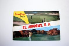 Greetings from St. Andrews New Brunswick Canada Postcard 1963 / Vintage Golfing Postcard / New Brunswick Souvenir Vintage Golf Course by ValleyFinds4U on Etsy