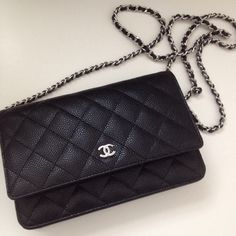 Chanel wallet on chain in classic quilt black caviar with silver hardware