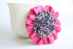 Items similar to Pink beaded flower brooch. Romantic, feminine pink and purple brooch. Pop of color. on Etsy Color Mixing, Color Pop, Different Shades Of Pink, Gifts For Your Mom, Beaded Brooch, Flower Brooch, Czech Glass Beads, Embroidered Flowers, Pink Flowers