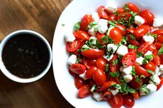 caprese salad with brown sugar balsamic dressing