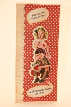 This vintage Valentine has taken a turn towards the naughty. Check it out at our shop for details: CatieGraceCreations.etsy.com
