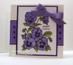 Pansies for Grandma by hobbywoman - Cards and Paper Crafts at Splitcoaststampers Butterfly Cards, Flower Cards, Cool Cards, 3d Cards, Purple Cards, Beautiful Handmade Cards, Flower Stamp, Card Sketches, Pansies