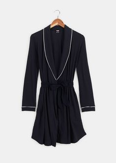 Organic Cotton Piped Short Robe