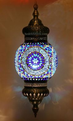 Blue Mosaic Turkish Style Colourful Pendant Lighting 20cm mediterranean pendant lighting
