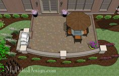 Add some color and elegance to your outdoor dining with the 480 sq. ft. Backyard Patio Design with Grill Station and Seating Wall. Downloadable Plan.
