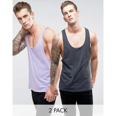 ASOS Vest With Extreme Racer Back 2 Pack SAVE ($14) ❤ liked on Polyvore featuring men's fashion, men's clothing, men's outerwear, men's vests, multi, mens vest, men's cotton vest, mens tall vest and mens vest outerwear