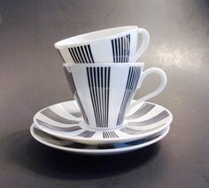 Vintage Richard Ginori Porcelain Demi Tasse Cup Saucer Set Black White Neoclassical Style Pair Teacups