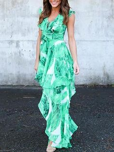 94814854e6 Green Chiffon V-neck Leaf Print Ruffle Trim Chic Women Maxi Dress. MYNYstyle