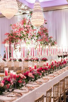 Fuchsia floral centrepieces at the Granite Club in Toronto, by event designer Rachel A. Clingen.