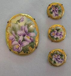 Set of Victorian-Era Porcelain Pins