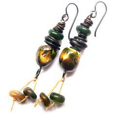 Rustic Bohemian Earrings, Earthy Ceramic & Natural Stone Earrings, Greens Yellows Dangle Earrings, Scorched Earth, Black Niobium Earrings by SheFliesAgain on Etsy https://www.etsy.com/listing/208098378/rustic-bohemian-earrings-earthy-ceramic