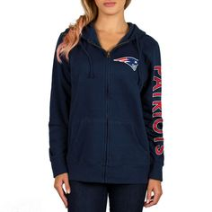 New England Patriots Women's Extra Point 2 Hit Full-Zip Hoodie - Navy - $44.99