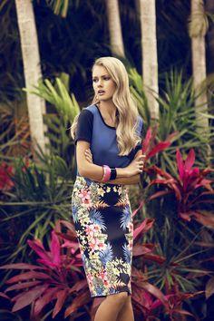 tropical print skirt