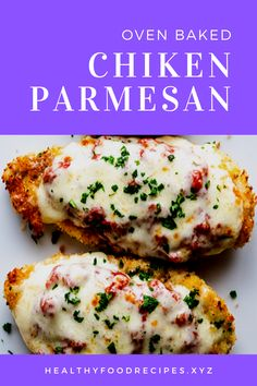 Easy, delicious and savory recipes for oven baked chicken parmesan. Oven Baked Chicken Parm Recipe, Oven Parmesan Chicken, Parmesan Chicken Breast Recipe, Easy Baked Chicken, Yummy Chicken Recipes, Baked Chicken Breast, Chicken Eggplant, Eggplant Parmesan