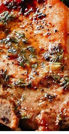 Garlic Butter Baked Pork Chops (Super easy to make!)- Garlic Butter Baked Pork Chops (Super easy to make! Oven Recipes, Pork Recipes, Dinner Recipes, Cooking Recipes, Healthy Recipes, Pork Loin Steak Recipes, Easy Pork Chop Recipes, Crockpot Recipes, Gourmet